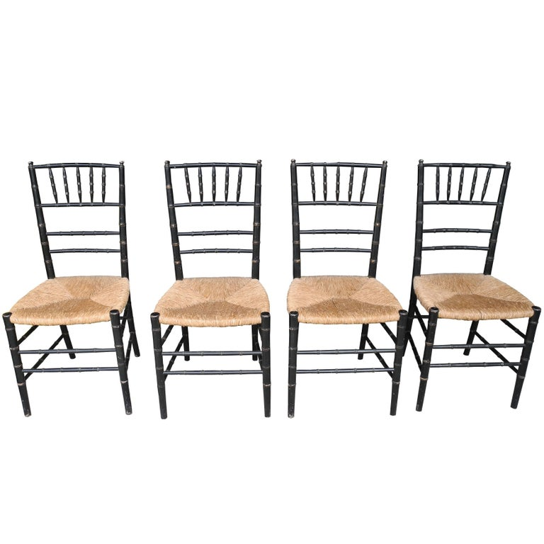 Set of Four Faux Bamboo Wood and Rush Decorative Chairs