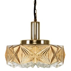 Pressed Glass Pendant, No. 36404 by Vitrika, 1960s, Vintage Glass and Brass Lamp