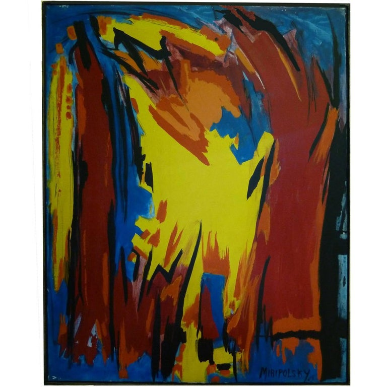 Bold and Graphic Oil Painting by Bert Miripolsky For Sale