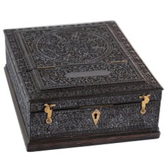 Antique Anglo-Indian or British Colonial Ebony Jewelry Box