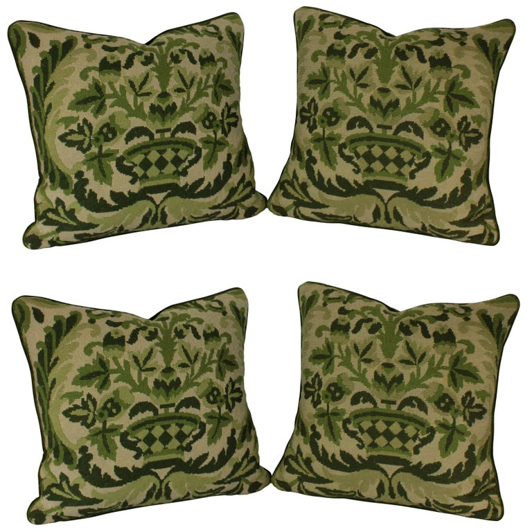 Four French Needle Point Cushions For Sale