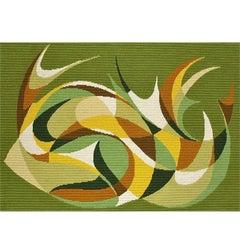 Danish Midcentury Wool Carpet Rug Rya Abstract Flat-Weave Green Wall Hanging