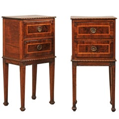 Pair of Exquisite Italian Wood Comodini Tables from the Early 19th Century