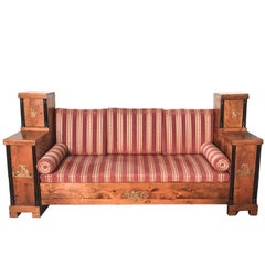 Period Antique Swedish Empire Carved and Bronze Accented Sofa