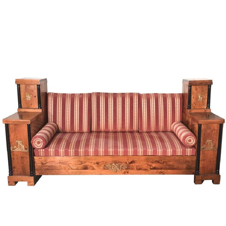 Period Antique Swedish Empire Carved And Bronze Accented Sofa For