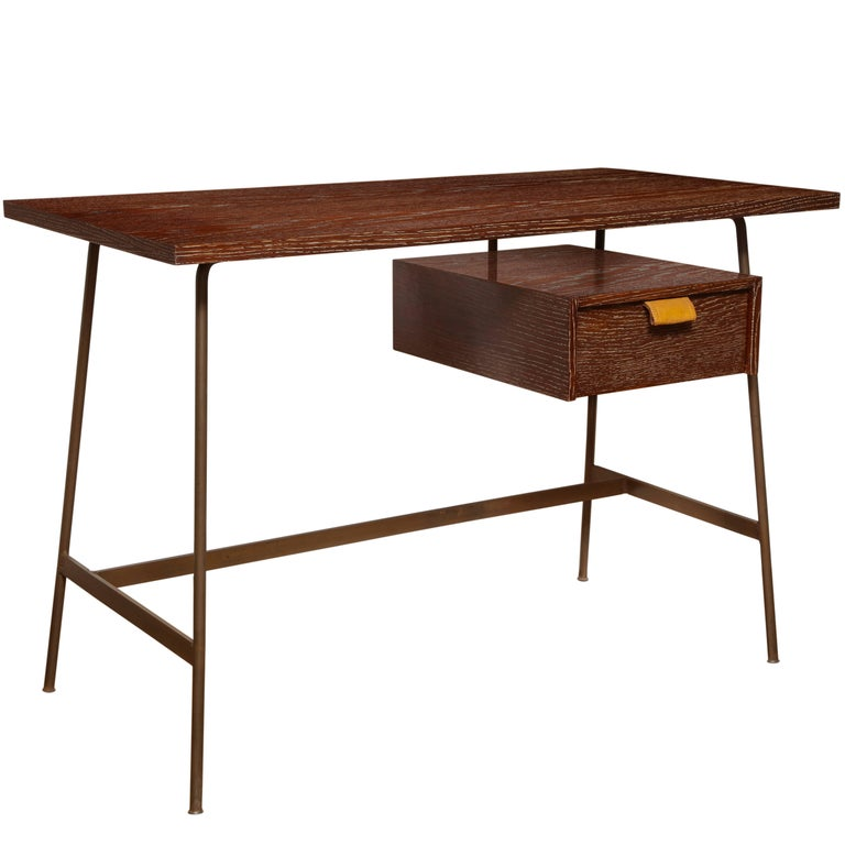 A New Mid-Century Style Cerused Oak Desk