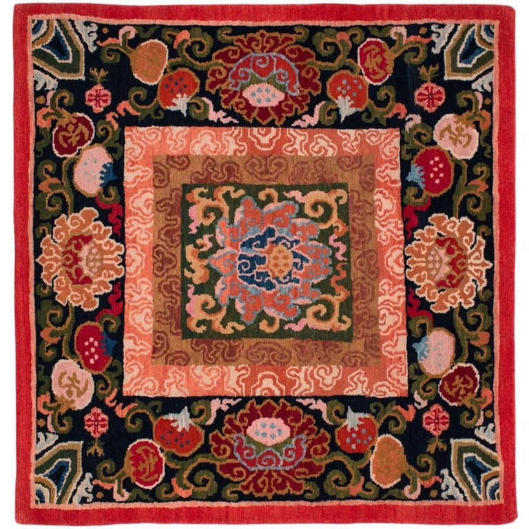 Small Square Tibetan Area Rug/Meditation Mat At 1stdibs