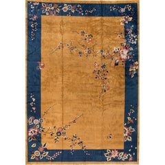 1920s Gold/Blue Chinese Art Deco Carpet