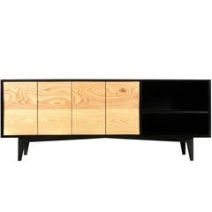 Westchester Credenza Made of Ebonized Ash and Custom Ash Doors