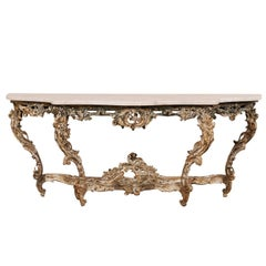 Exquisite French 18th Century Richly Carved Wood and Marble Rococo Console Table