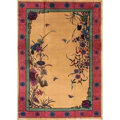 1920s Gold/Red Chinese Nichols Carpet, 11.08x17.04