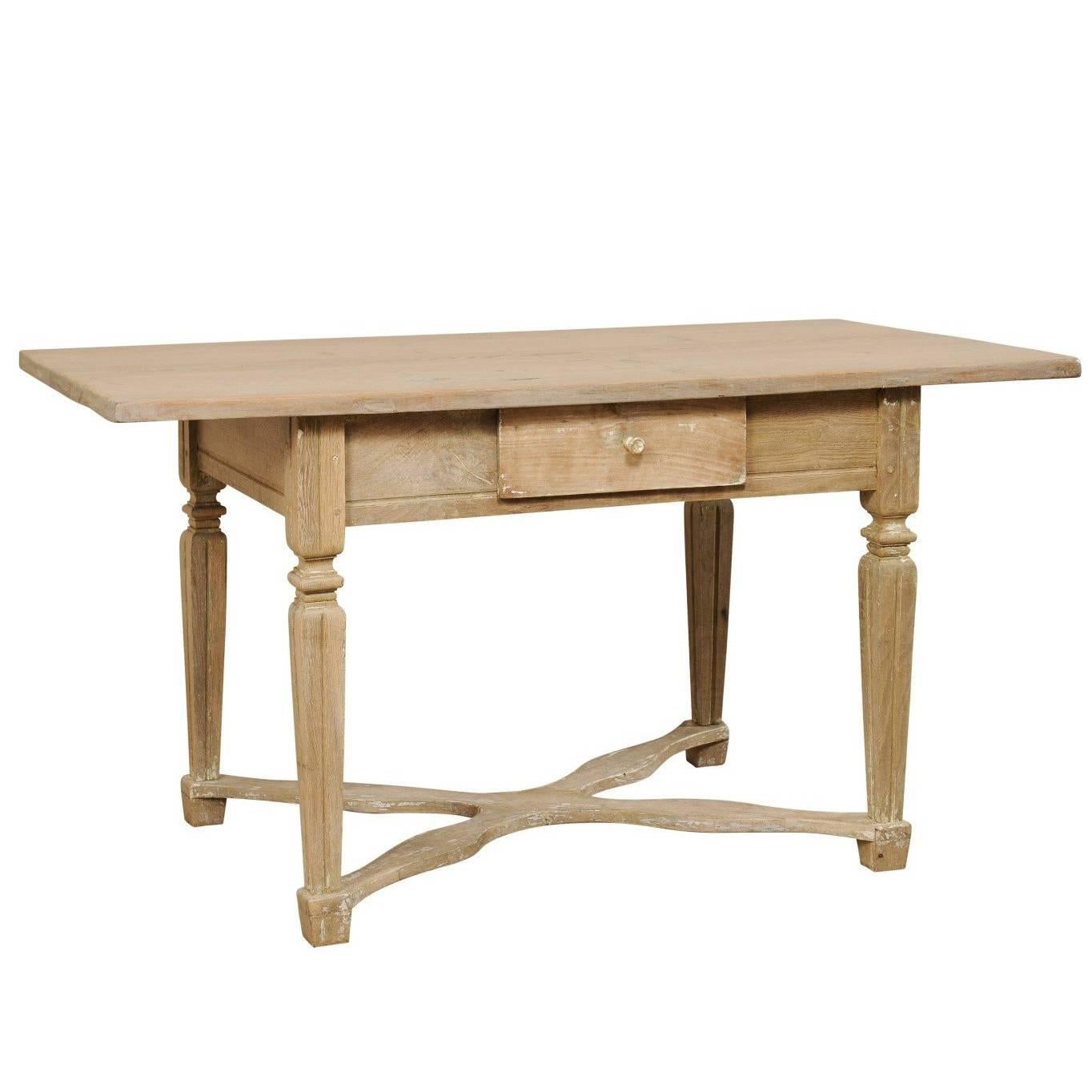 Swedish 19th Century Baroque Style Desk or Table with Single Drawer