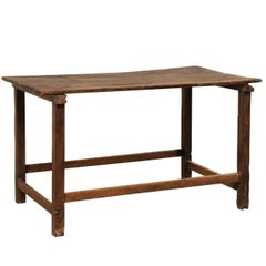 19th Century European Beautifully Rustic Wood Table with Long Squared Legs