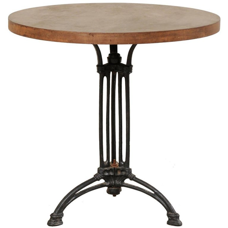 French Iron Bistro Table with Early 19th Century Iron Base, Indoor/Outdoor For Sale