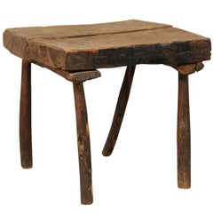 French, 19th Century Cute Rustic Oak Wood Side or Drink Table with Square Top