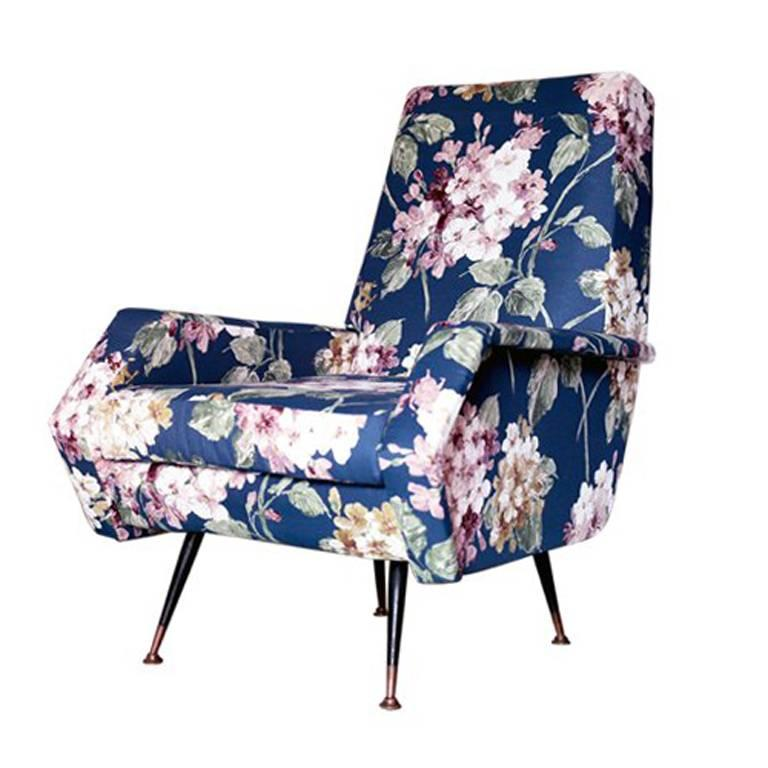 Armchair Upholstered in Flower Fabric from Italy, 1950