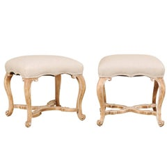 Pair of Carved Wood and Upholstered Stools with Cabriole Legs by Minton-Spidell