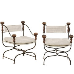 Pair of Italian Dante Iron and Upholstered Chairs with Carved Round Finials