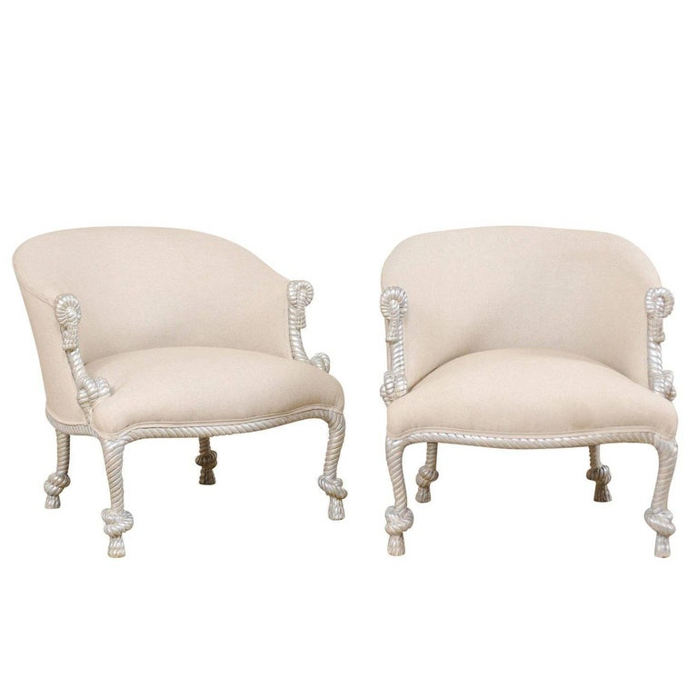 Italian Vintage Barrel Chairs with Painted Silver Rope-Like Arms and Legs, Pair