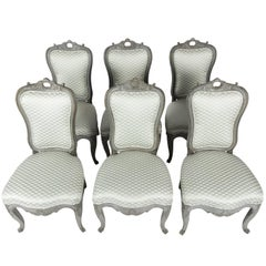 Set of Six 19th Century Gray-Painted Dining Chairs
