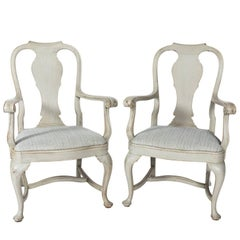 Pair of Early 20th Century Queen Ann Style Armchairs