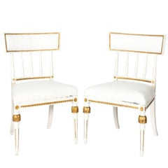 Pair of 1800s Gilded and White-Painted Gustavian Chairs