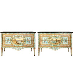 Pair of Late 18th Century Italian Hand-Painted Commodes