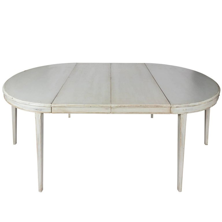 Painted Oval Gustavian Extending Dining Table