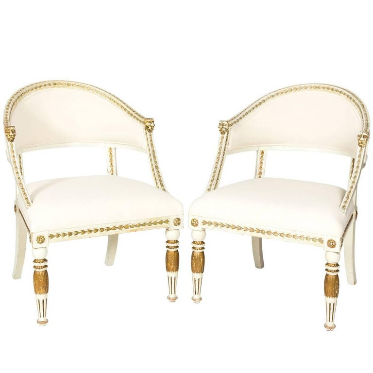 Pair of Early 1900s Gustavian Style Tub Armchairs
