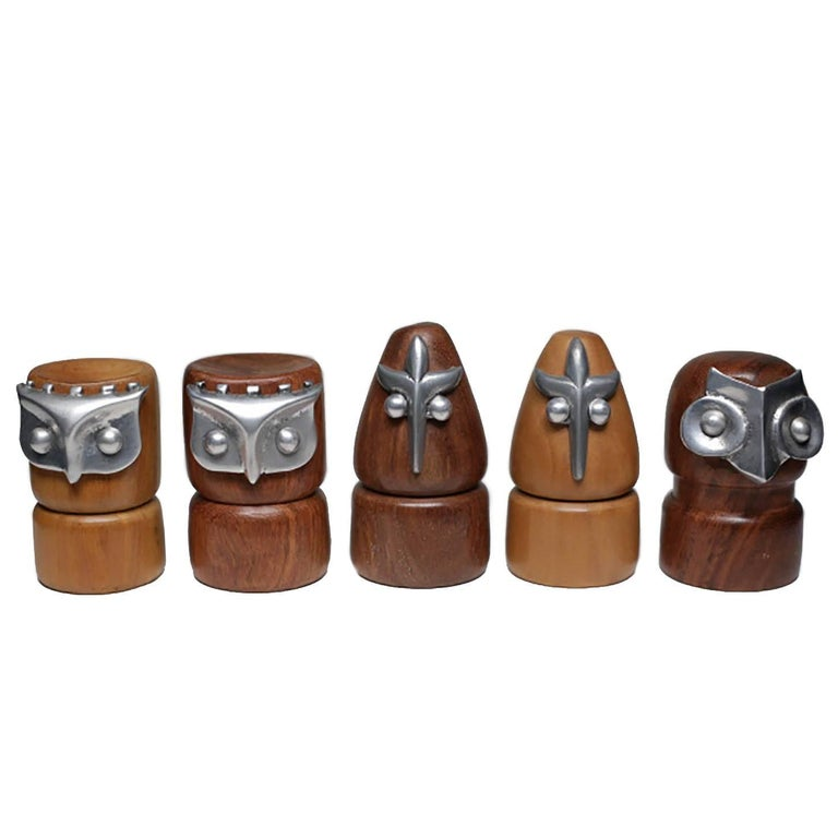 Collection of Midcentury Walnut, Teak and Aluminum Owl Chess Pieces, circa 1960s