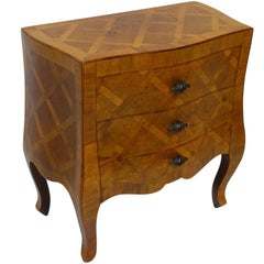 Italian Walnut Inlaid Dwarf Chest with Lattice Design Inlay
