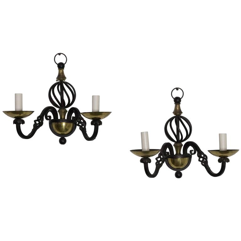 Pair of French Iron and Brass Sconces