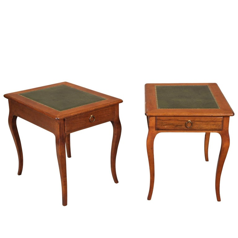 Pair of Italian Leather Top Side Tables For Sale