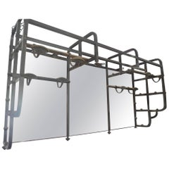 Italian 1950s Cast Iron Theatre Makeup Mirror with Eight Hooks and Six Lights