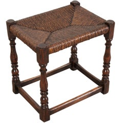 English 19th Century Rush Seat Stool