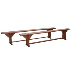 Pair of English 19th Century Pine Benches