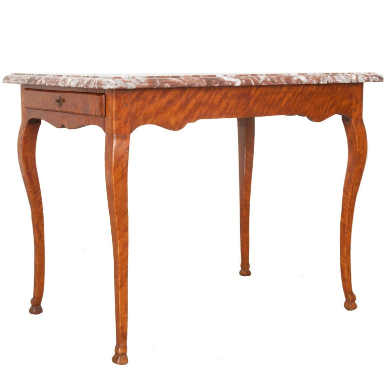 French Early 19th Century Birch Writing Table with Marble Top For Sale