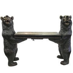 Black Forest Carved Bear Musical Bench
