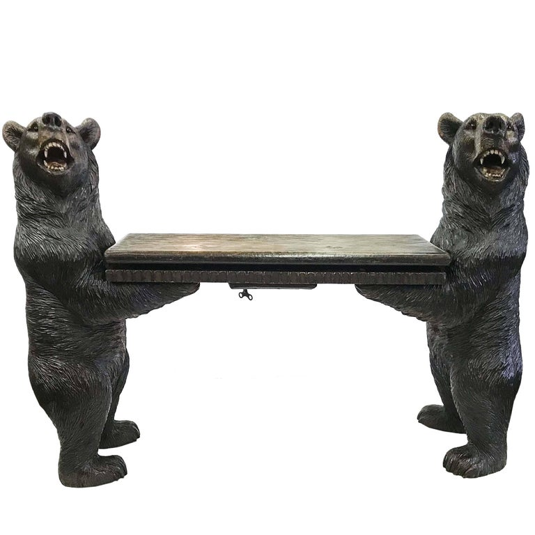 Black forest carved bear musical bench for sale at stdibs