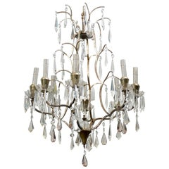 Swedish Eight-Light Crystal Chandelier with Brass Armature, Rewired for US
