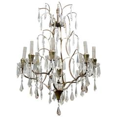 Swedish Mid-Century Eight-Light Crystal Chandelier
