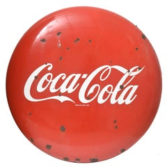 1950s Distressed Coca-Cola Porcelain Button Sign