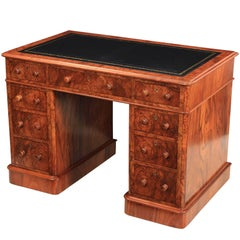 Victorian Figured Walnut Desk by Maple & Co