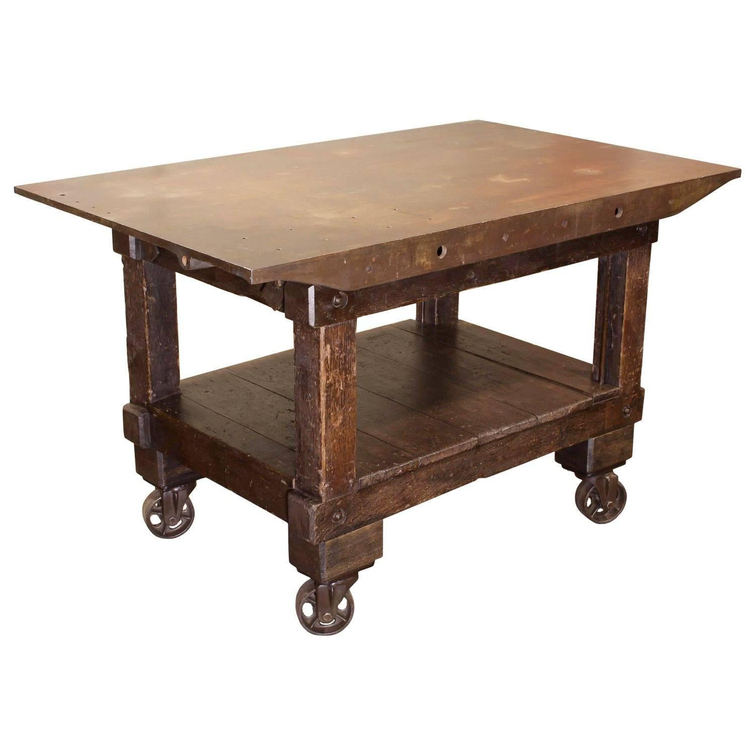 Rolling Table Kitchen Island, Wood And Cast Iron For Sale