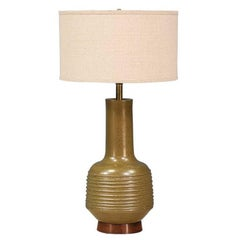 David Cressey Olive Green Ceramic Table Lamp for Architectural Pottery