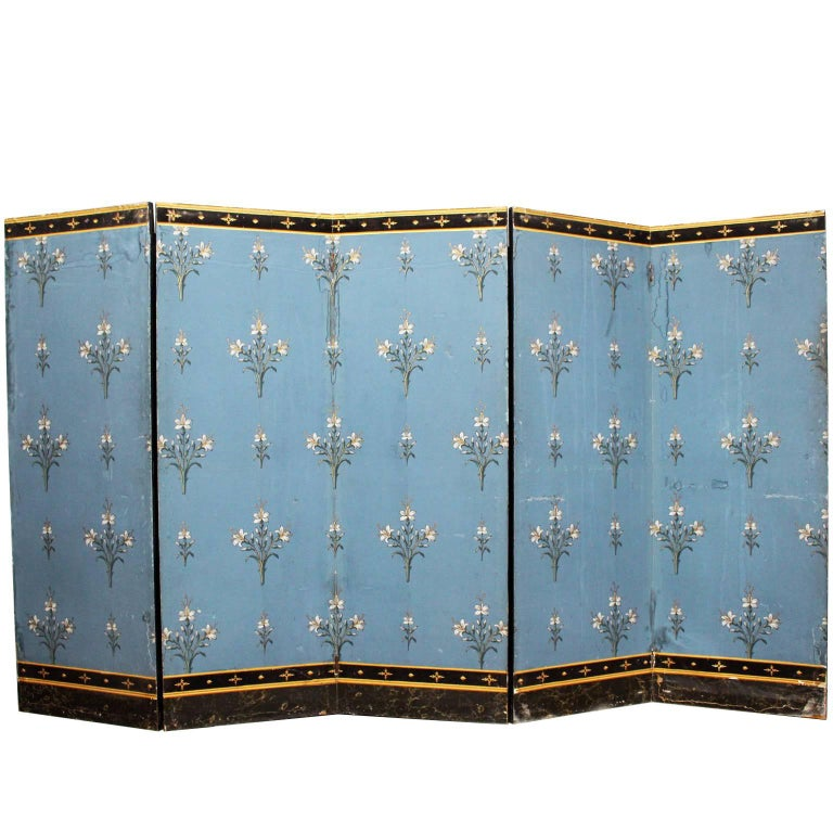 French Directoire Double Sided Five Panel Papered Room Screen Blue with Gold