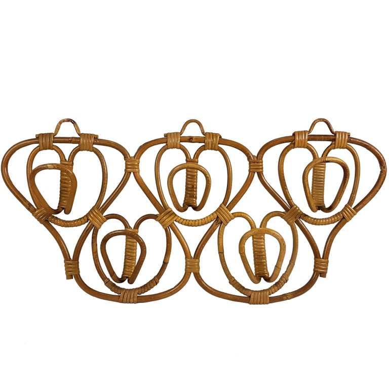 Vintage Italian Rattan Coat Hook Attributed to Franca Helg for Bonacina, 1960s