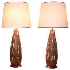 Pair of Tall Italian Ceramic Table Lamps