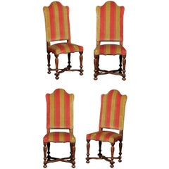 Set of Four Italian 1880s Tall Camelback Dining Chairs with X-Form Stretcher