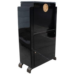 Belgian Art Deco Period Ebonized Bar Cabinet